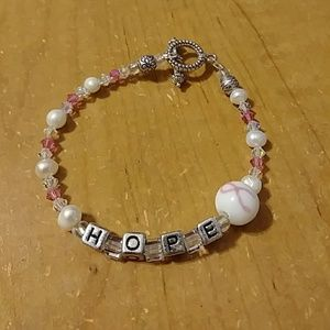 Jewelry - Hope Breast Cancer Bracelet Handmade